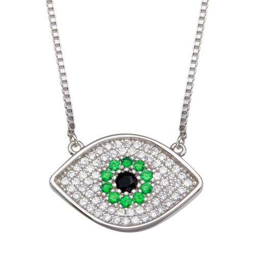 Wholesale Sterling Silver 925 Rhodium Plated Evil Eye Necklace with Green and Clear CZ - GMN00084