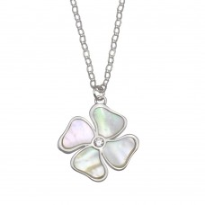 Wholesale Sterling Silver 925 Rhodium Plated Mother of Pearl and CZ Clover Necklace - GMN00085