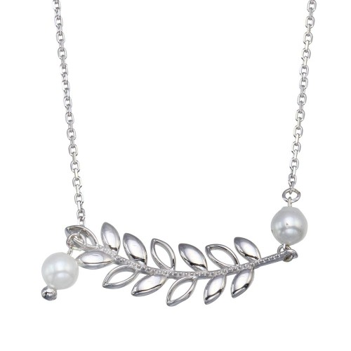 Wholesale Sterling Silver 925 Rhodium Plated Tree Branch Dangling Pearl Adjustable Necklace - GMN00086
