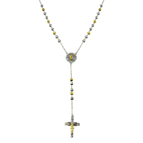 Wholesale Sterling Silver 925 2 Toned Plated DC Beaded CZ Cross Rosary - GMN00088RG