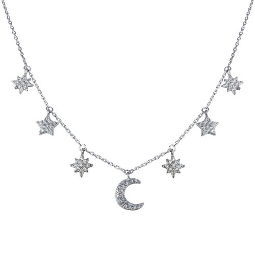 Wholesale Sterling Silver 925 Rhodium Plated CZ  Star and Crescent Moon Necklace - GMN00089