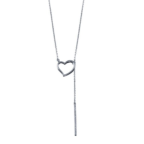Wholesale Sterling Silver 925 Rhodium Plated Open Heart Necklace with CZ Drop Bar - GMN00090