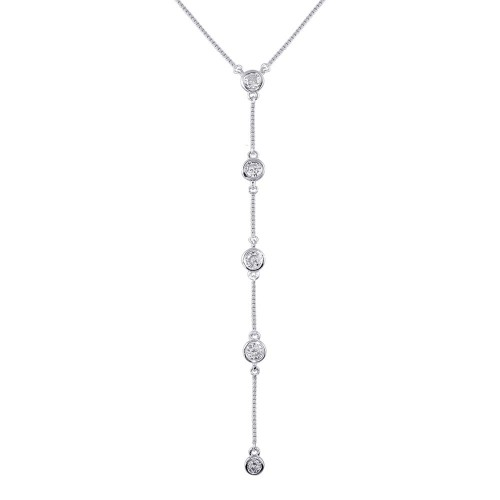 Wholesale Sterling Silver 925 Rhodium Plated 4 Drop CZ Necklace - GMN00091