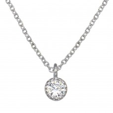 Wholesale Sterling Silver 925 Rhodium Plated Single CZ Necklace - GMN00093