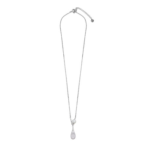 Wholesale Sterling Silver 925 Rhodium Plated Synthetic Mother of Pearl Tennis Racket Necklace - GMN00095