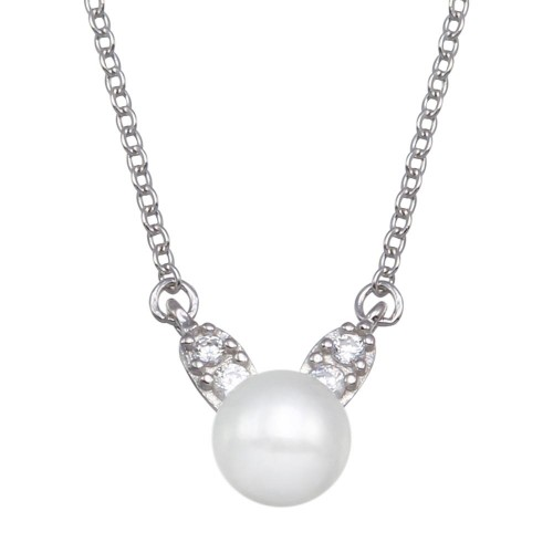 Wholesale Sterling Silver 925 Rhodium Plated Synthetic Mother of Pearl CZ Necklace - GMN00096