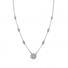 Wholesale Sterling Silver 925 Rhodium Plated CZ Disc Flower Necklace - GMN00097