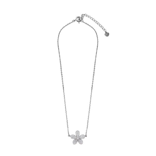 Wholesale Sterling Silver 925 Rhodium Plated CZ Flower Necklace - GMN00098