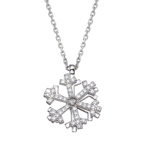 Wholesale Sterling Silver 925 Rhodium Plated Rotating Snow Flake CZ Necklace - GMN00099