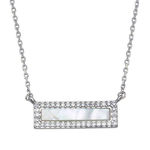 Wholesale Sterling Silver 925 Rhodium Plated Mother Of Pearl Halo Bar Necklace - GMN00100