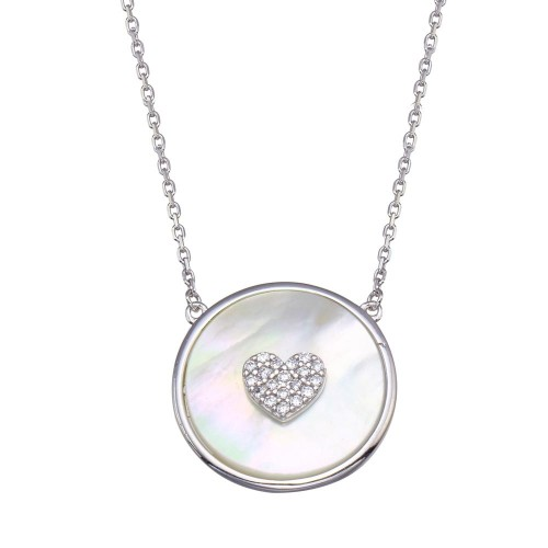 Wholesale Sterling Silver 925 Rhodium Plated Mother Of Pearl Disc with CZ Heart Necklace - GMN00101