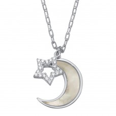 Wholesale Sterling Silver 925 Rhodium Plated CZ Synthetic Mother of Pearl Star and Crescent Moon Necklace - GMN00102