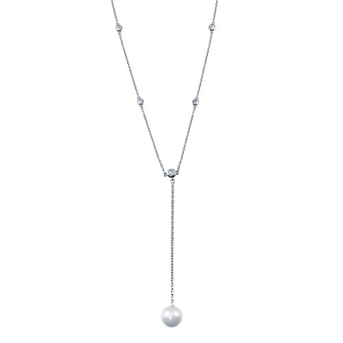 Wholesale Sterling Silver 925 Rhodium Plated CZ By The Yard Necklace with drop Mother of Pearl - GMN00103