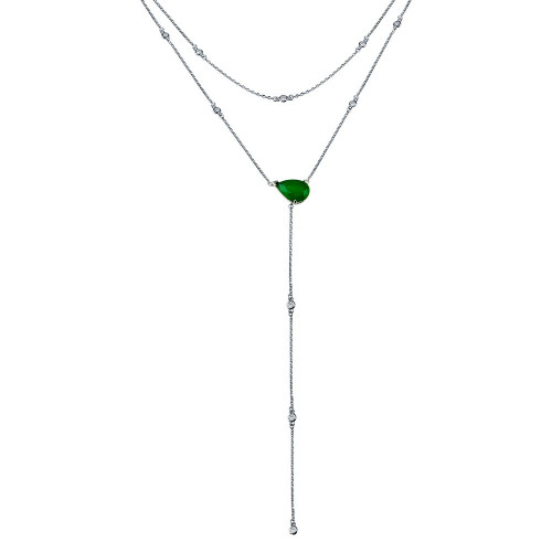 Wholesale Sterling Silver 925 Rhodium Plated Multi Chain CZ Drop Necklace  - GMN00104