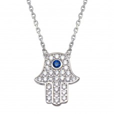 Wholesale Sterling Silver 925 Rhodium Plated CZ Hamsa Necklace - GMN00106