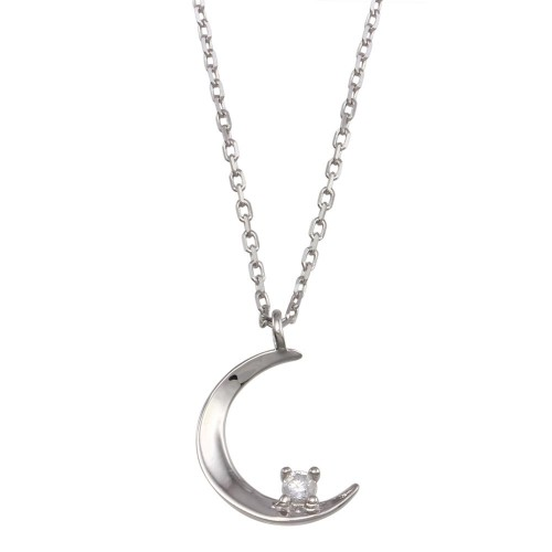 Wholesale Sterling Silver 925 Rhodium Plated Crescent CZ Necklace - GMN00118