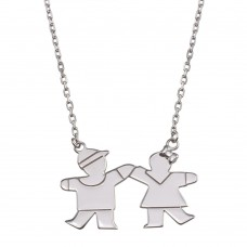 Wholesale Sterling Silver 925 Rhodium Plated Boy and Girl Necklace with CZ - GMN00119