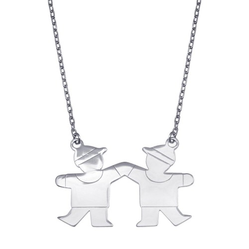 Wholesale Sterling Silver 925 Rhodium Plated CZ 2 Boys Necklace - GMN00120