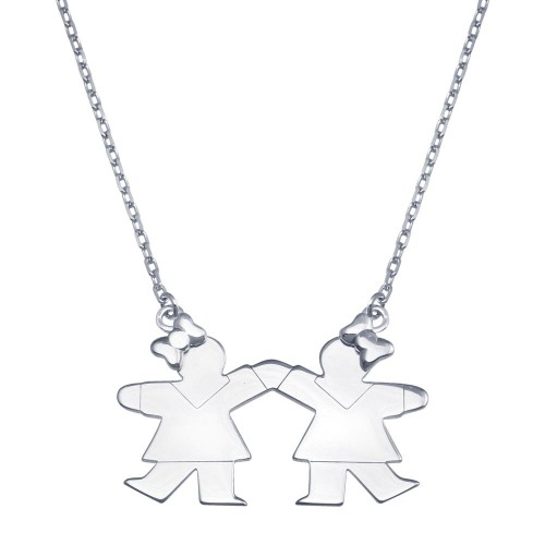 Wholesale Sterling Silver 925 Rhodium Plated CZ 2 Girls Necklace - GMN00121