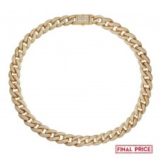 Wholesale Sterling Silver 925 Gold Plated Miami Curb CZ Encrusted Chains 12.3mm - GMN00123GP