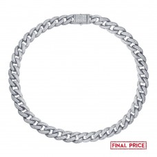 Wholesale Sterling Silver 925 Rhodium Plated Miami Curb CZ Encrusted Chains 12.3mm - GMN00123