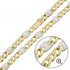 Wholesale Sterling Silver 925 Gold Plated CZ Encrusted Figaro Mariner Chain 14.5mm  - GMN00127GP
