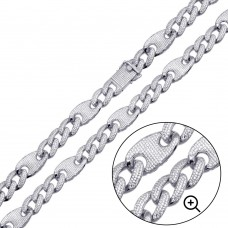 Wholesale Sterling Silver 925 Rhodium Plated CZ Encrusted Figaro Mariner Chain 14.5mm  - GMN00127