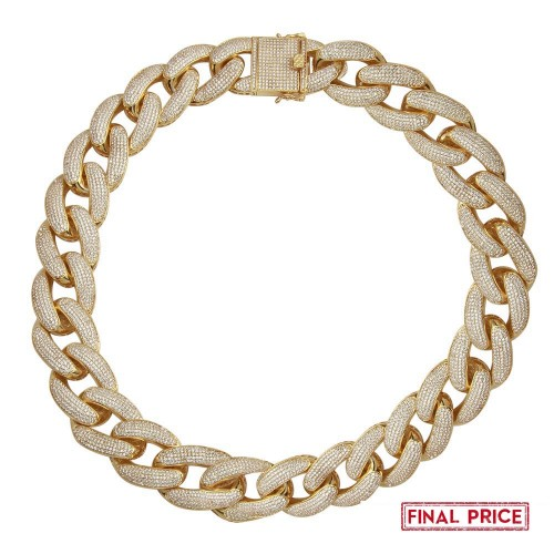 Wholesale Sterling Silver 925 Gold Plated Square Miami Cuban CZ Encrusted Chain 20.3mm - GMN00128GP