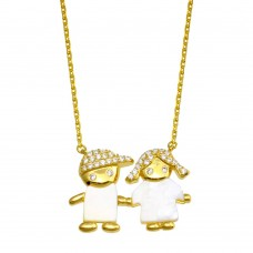 Wholesale Sterling Silver 925 Gold Plated CZ Boy and Girl Necklace - GMN00129GP