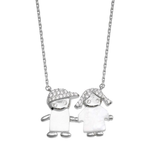 Wholesale Sterling Silver 925 Rhodium Plated CZ Boy and Girl Necklace - GMN00129