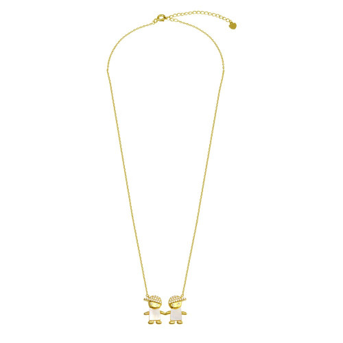 Wholesale Sterling Silver 925 Gold Plated CZ 2 Mother of Pearl Boys Necklace - GMN00130GP