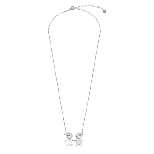 Wholesale Sterling Silver 925 Rhodium Plated CZ 2 Mother of Pearl Boys Necklace - GMN00130