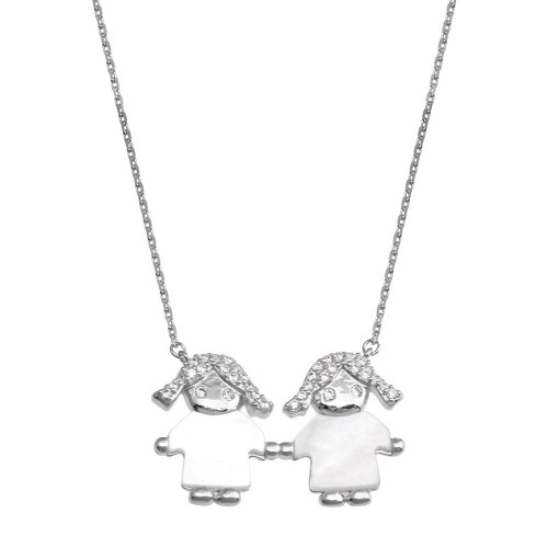 Wholesale Sterling Silver 925 Rhodium Plated CZ 2 Mother of Pearl Girls Necklace - GMN00131