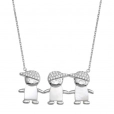 Wholesale Sterling Silver 925 Rhodium Plated CZ 3 Mother of Pearl Boys Necklace - GMN00132