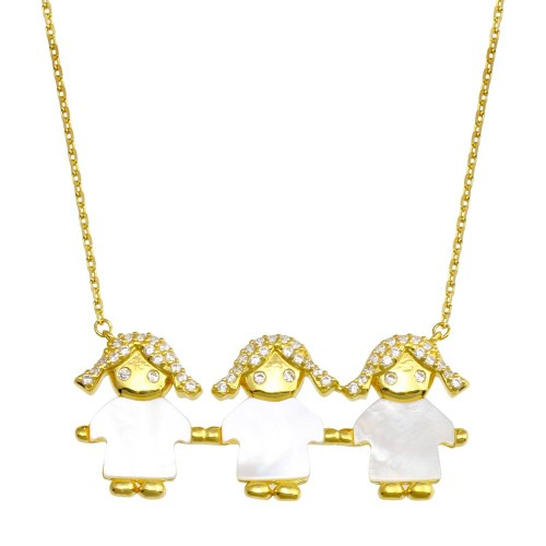 Wholesale Sterling Silver 925 Gold Plated CZ 3 Mother of Pearl Girls Necklace - GMN00133GP