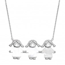Wholesale Sterling Silver 925 Rhodium Plated CZ 3 Mother of Pearl Girls Necklace - GMN00133