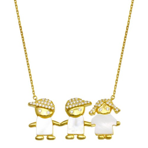 Wholesale Sterling Silver 925 Gold Plated CZ 2 Boys and Girl Necklace - GMN00134GP