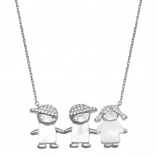 Wholesale Sterling Silver 925 Rhodium Plated CZ 2 Boys and Girl Necklace - GMN00134