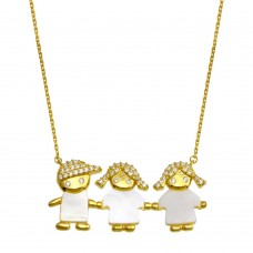 Wholesale Sterling Silver 925 Gold Plated CZ 2 Girls and a Boy Mother of Pearl Necklace - GMN00135GP