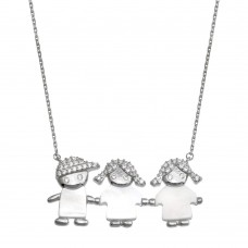Wholesale Sterling Silver 925 Rhodium Plated CZ 2 Girls and a Boy Mother of Pearl Necklace - GMN00135