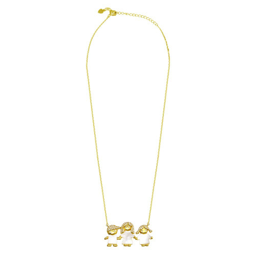 Wholesale Sterling Silver 925  Gold Plated CZ Mother of Pearl Mom Boy and Girl Necklace - GMN00136GP