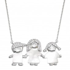 Wholesale Sterling Silver 925 Rhodium Plated CZ Mother of Pearl Mom Boy and Girl Necklace - GMN00136