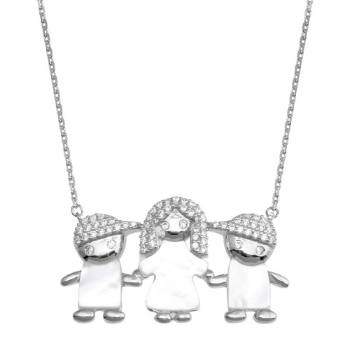 Wholesale Sterling Silver 925 Rhodium Plated CZ Mother of Pearl Mom and 2 Boys Necklace - GMN00137