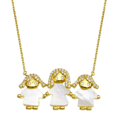 Wholesale Sterling Silver 925 Gold Plated CZ Mother of Pearl Mom and 2 Girls Necklace - GMN00138GP