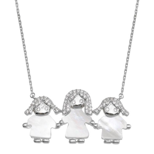Wholesale Sterling Silver 925 Rhodium Plated CZ Mother of Pearl Mom and 2 Girls Necklace - GMN00138