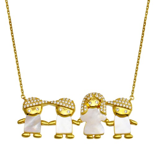 Wholesale Sterling Silver 925 Gold Plated CZ Mother of Pearl Mom and 3 Boys Necklace - GMN00139GP