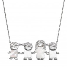 Wholesale Sterling Silver 925 Rhodium Plated CZ Mother of Pearl Mom and 3 Boys Necklace - GMN00139