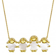 Wholesale Sterling Silver 925 Gold Plated CZ Mother of Pearl Mom and 3 Girls Necklace - GMN00140GP