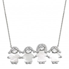 Wholesale Sterling Silver 925 Rhodium Plated CZ Mother of Pearl Mom and 3 Girls Necklace - GMN00140