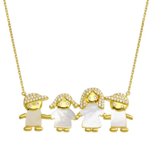 Wholesale Sterling Silver 925 Gold Plated CZ Mother of Pearl Mom 2 Boys and 1 Girl Necklace - GMN00141GP